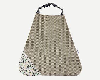 Bib elasticated sponge and geometric patterns and birds printed cotton