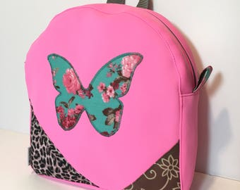 Backpack child pink neon diligently multicolor printed cotton double Butterfly shape