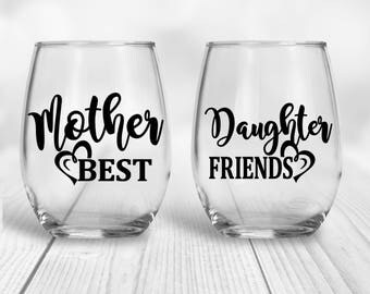 Mother Daughter | Best Friends | Wine Set | Gift For Mom | Mother Daughter Gift | Mothers Day Gift | Birthday Gift | Mothers Gift | Daughter