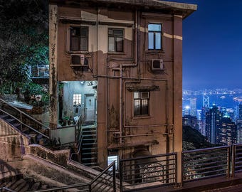 House at the Peak, Hong Kong, Night view, Art Print, Sunset, City, Cityscape photo, Evening Picture, Highrise, Wall decor, Fine Art
