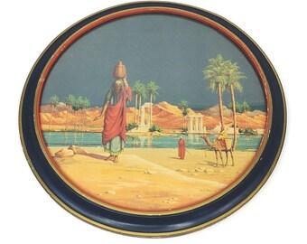 Vintage 1923 Victor E. Pickup/Hassan Yashmid Water Seller Round Framed Litho Art