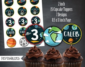 Space Cupcake Toppers, Space Favors, Tags, Outer Space Party, Astronaut Cupcake Toppers, Planets, Personalized, Printables, Digital, DIY