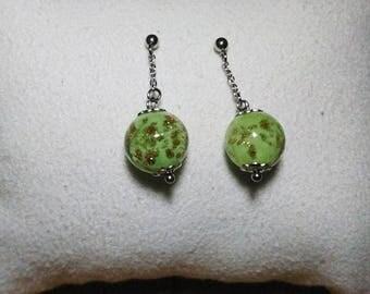 Bo pins ball vintage glass pale green glitter gold pins in titanium chain attachment