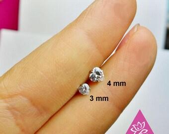 1 pcs helix tragus lobe HEART screw behind 5mm titanium with mini  diament oxyde de zirconium 3mm/ 4mm minimaliste géométrique Stud ligne