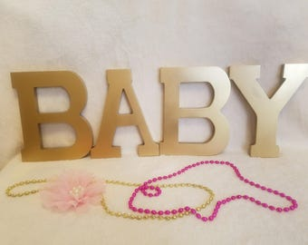 "Gold ""BABY"" letters. Wood Letter. BABY SHOWER. Baby 1st Birthday Pink and Gold. 7"""