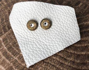 Diamond and Brass Swarovski Bullet Stud Earrings