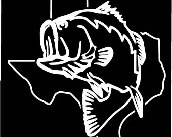 Texas Largemouth Bass Fishing state outline window sticker decal
