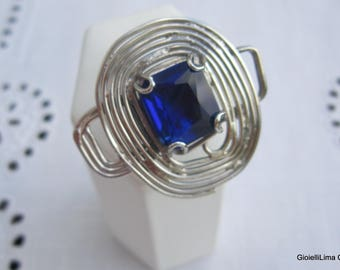 Silver ring with blue murano glass