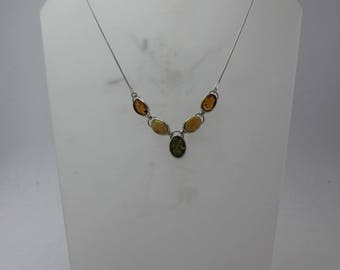 16 inch Multi-colour Amber necklace in Silver with 2 in extender