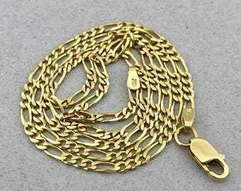 Stunning Solid 14k Yellow Gold Figaro Link Chain Necklace! 18 Inches! 2.2 MM!