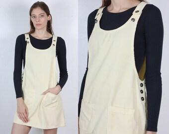 90s Jumper Dress // Vintage Grunge Corduroy Overall Dress Yellow - Medium