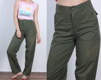 80s Army Pants // Vintage Utility Trousers Cargo Olive Drab Mens Womens - Small to Medium