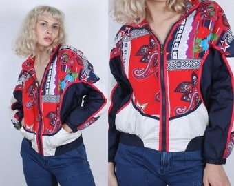 80s Baroque Track Jacket // Vintage Paisley Windbreaker Zip Up Red White Black Stars - Extra Small xs
