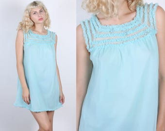 Vintage 60s Nightie // Baby Blue Slip Ruffle Lace Embroidery Negligee Peignoir Dress - Large