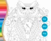 Owl coloring pages for adults, Owl adult coloring, Owl coloring book, Owl printable, Owl coloring sheet, Owl coloring pages
