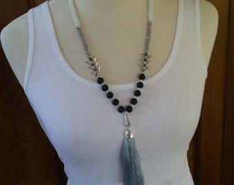 Beaded tassel necklace in grey