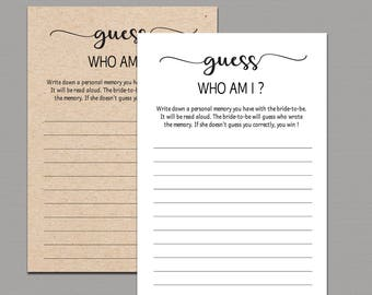 Who Am I Bridal Shower Game Printable, Rustic Memory With the Bride Game, DIY Bachelorette Party Games, Kraft Rustic Bridal Shower games B11