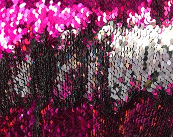 "Shiny Fuchsia & Silver Two Tone Reversible Mermaid Flip Sequins Fabric Sold By The Yard 60"" Wide"