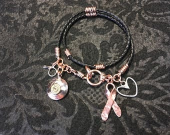 Leather braided bolo bracelet w/charms