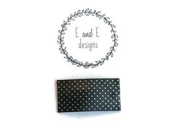 Black and Gold Dots Leather Snap Hair Clip