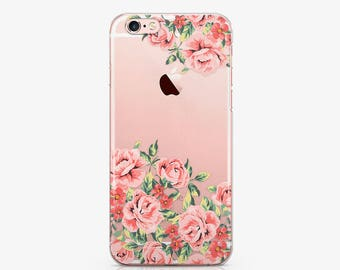 Pink Roses Clear Case iPhone 7 Case iPhone 6 Case Floral iPhone 6s Plus Case Flowers Case Galaxy S6 Case Samsung S8 Case iPod 6 Case ACC_206