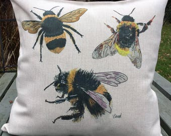 Three Bumblebee Cushion bee gift ideas Art by Vanessa Seward country home