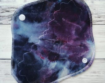 "Cloth Menstrual Pad OBV Galaxy Space 8"" Light Hand Ice Dyed - Mama Cloth - Washable Reusable Cloth Pad - Organic Bamboo Velour"