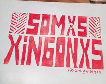 Somxs Xingonxs linocut print