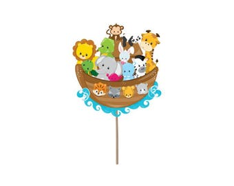 Baby shower cupcake toppers, Noah's Ark Cupcake toppers, baby shower picks, noah's art picks, noah's ark theme,  baby shower decorations