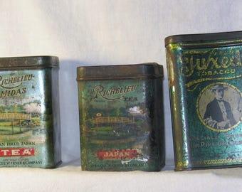 Lot of three advertising tins
