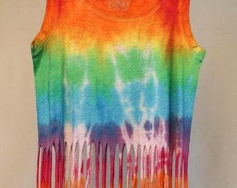 25% OFF ENTIRE SHOP Girls Size 6 Fringe Singlet - Beach - Festival - Ready To Ship - Tie Dyed - Fashion - 100 Percent Cotton - Free Shipping