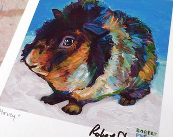 "8.5"" by 11"" Guinea Pig Art Print by Robert Phelps-guinea pig art, guinea pig lover, guinea pig painting, guinea pigs, farm decor, animal art"