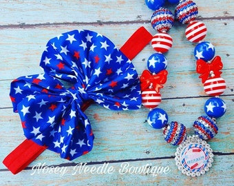 4th of July hair bow, 4th July hair, Girl 4th of July necklace, Fourth of July hair bow, 4th of July headband, Red white and blue hair bow