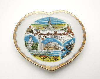 Hampton Beach New Hampshire Vintage Decorative Heart Shaped Plate Wall Ornament Boar's Head Trip Summer Vacation Souvenir Holiday Gift Ocean