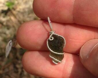 Genuine MOLDAVITE ~ #38 Meteor Tektite .925 SILVER Wire PENDANT!