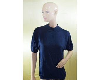 Vintage Franco Callegari women top blouse 100% silk navy blue
