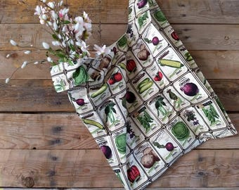 Market bag-reusable bag-shopping bag-shopping tote-garden theme-gift for her-gift for mom-eco friendly-reusable-washable bag-farmers market
