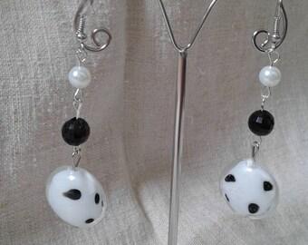 "Earrings ""Pearl coin Dalmatian way"""