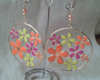 large multicolored floral earrings