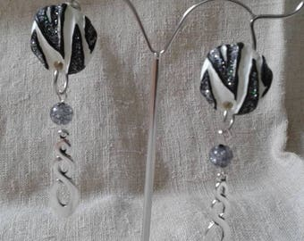 "Earrings ""the Zebra and silver"""