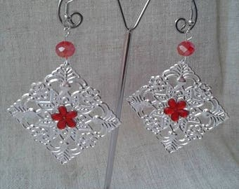 "Earrings ""Silver square charm"""