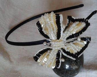 headband ecru and black Butterfly