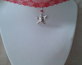 """""""red lace and Ghost Ribbon"""" Choker necklace"""