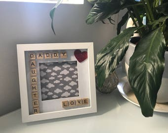 Daddy Daughter Love Scrabble Frame - Fathers Day - Birthdays - Just Because