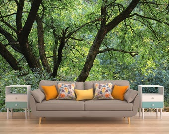 Wallpaper Forest Trees, Spring Forest Wallpaper,Peel And Stick Wall Art,  Forest Trees