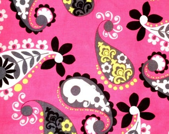 Pink Paisley Fabric, Paisley on Pink Background Fabric, Paisley Fabric, Brother Sister Design Studio, Sold by the YARD