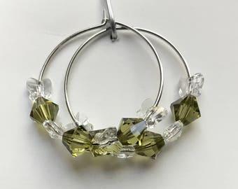 Swarovski Khaki & Crystal Butterflies bicones Hoop Earrings