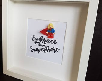 Superhero//Shadow Box Frame//Supergirl//Minifigures//Gift//Mum/Mom/Mothers Day/For Her//My Hero//DC//Personalise//Geek//Kids Room//Nursery