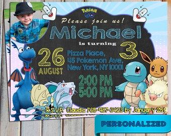 SALE 40% Pokemon Go Invitation, Pokemon Go Invite, Pokemon Go Birthday, Personalized, Printable, Digital invitation, Thank you card free