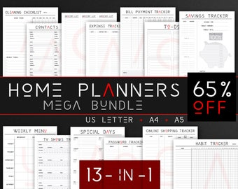 Home Planners Bundle (style C), Grocery List, Shopping Tracker, TV Series Tracker, Bills Tracker, Home planners - INSTANT DOWNLOAD